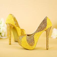 Womens pumps dress wedding bridal heels shoes platform rhinestones gold Z0100