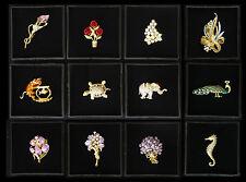 Brosche in Geschenkrahmen 38 tolle Designs Elefant Katze Rose Orchidee Blume etc