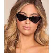 Trendy Retro Cat Eye Sunglasses Plastic Skinny Frames Black Lens Women Fashion