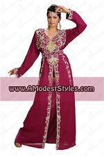DUBAI ABAYA FANCY KAFTAN Hijab Muslim Islamic Wedding Dress *USA SELLER* MD0529a
