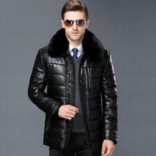 Winter Men's Sheepskin Leather Jacket Puffer Coat Fleece Lined Thick Fur Collar
