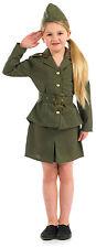 Niño Niña WWII SOLDADO DEL EJÉRCITO Disfraz uniforme militar Fantasía Ropa