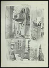 GRAVURE CARILLONS ANVERS GAND BRUXELLES  BELGIQUE 1895