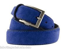 Cintura in pelle uomo camoscio classica blu elettrico artigianale made in italy