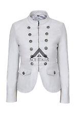 «VICTOIRE» dames blanches défilé militaire Style veste en cuir d'agneau véritable souple