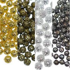 100 Metal redonda filigrana espaciador Perlas De 6mm Plata Oro Bronce Gunmetal