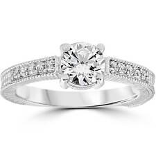 Vintage Diamond Engagement Ring 1 Carat 14K White Gold Round Brilliant Cut