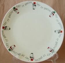 "LET IT SNOW International Silver 12"" Cake Plate Round Serving Platter Snowman"