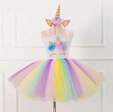 Flower Girls Unicorn Tutu Dress Princess Girls Birthday Party Dress ZG9