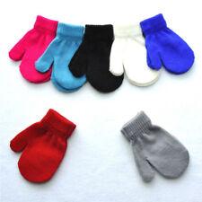 Kids Solid Full Finger Gloves Winter Warm Baby Children Knitted Stretch Mittens