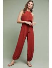 NWT New Elevenses Anthropologie North Beach Rust Orange Red Jumpsuit Romper L