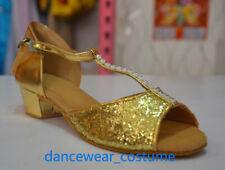 Girls Kids Party Ballroom Latin Tango Jazz Salsa Dance Shoes Heels Sandals U8-13