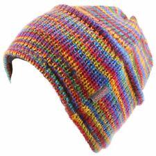 Wool knit beanie hat LOUDelephant fleece lining stripes Rainbow
