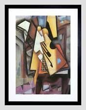 JUAN GRIS GUITAR STOOL OLD MASTER BLACK FRAMED ART PRINT B12X838