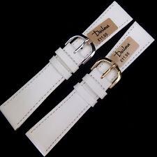 22mm DARLENA 1201 Blanco Reloj Correa de cuero de becerro suave Clásico Oro O Plata