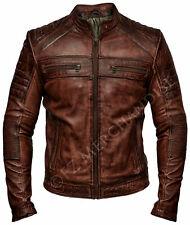 Mens Biker Vintage Motorcycle Distressed Brown Cafe Racer Leather Jacket - B1