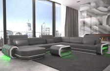 XXL Wohnlandschaft Ecksofa ROMA Designcouch Couch USB LED Beleuchtung grau weiss