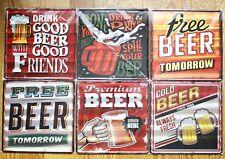 Metal Vintage 12 x 12  30cm x 30cm Sign Beer Man Cave Bar Pub NEW FREE FAST SHIP