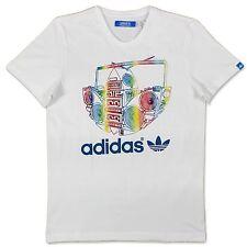 Adidas Originals G Boom Trefoil T-Shirt Men's White Multicolour Rainbow