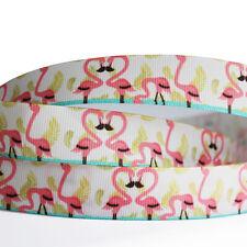 "5/10/50Y 7/8""22mm Flamingos Grosgrain Cartoon Printed Pattern Ribbon Craft"