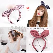 Fashion Korean Style Rabbit Bunny Ears Ribbon Scarf Hair Tie Wrap Bow Headband S