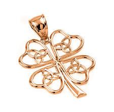 Rose 14k Gold Celtic Trinity Knot Lucky Four Leaf Clover Flower Pendant