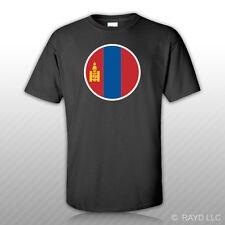 Round Mongolian Flag T-Shirt Tee Shirt Free Sticker Mongolia MNG MN