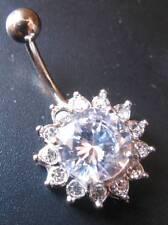 GRADE 5 TITANIUM Large Crystal Flower Belly Bar - Choose: 6mm 8mm 10mm 12mm 14mm