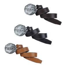 Vintage Cowboy PU Leather Belt Western Knight Buckle Arabesque Wrist Band