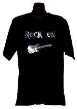 ROCK ON GUITAR  RHINESTUD  T SHIRT   any size s-xxl