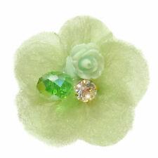 Bague VERTE Fleur perle et cristal réglable ajustable Taille 56 58 60 62 64 66