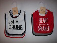 Modern Baby Bibs Baby Boys Select Style OSFM I'M A CHUNK HUNK HELLO LADIES HEART