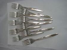 "Oneida ""Enchantment""  Silver Plate Dessert Forks 10 Pc Floral"