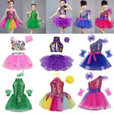 Girl Kid Jazz Dance Dress Ballet Latin Sequins Tutu Skirt Costume Xmas Party Set