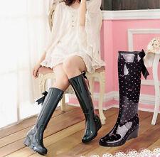 Girls Women Wedge Heel Knee High Rain Boots Back Zipper Bowknot Boot Zsell