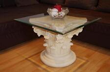 Couchtisch Wohnzimmer Fossiltisch Blumensäule Steinmöbel Glastisch H:50cm Barock