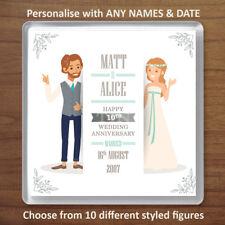 Personalised 10th (Tin) Wedding Anniversary Drinks Coaster Gift Present