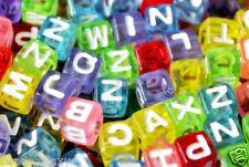 100 pcs alphabet letter beads, cube, 6 mm, 7 mm, 8 mm, 10 mm, option for colours
