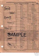 1966 1967 FORD FAIRLANE BODY PARTS LIST FRAME CRASH SHEETS $