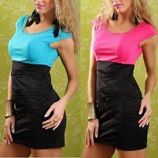 Sexy Miss Damen Glam Ketten Rundhals Mini Kleid Pencil Dress S 34 M 36 L 38 XL40