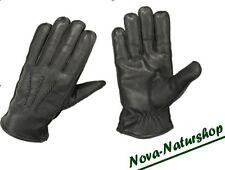 Lederhandschuhe, Winterhandschuhe ,  gefüttert, schwarz + braun, Jagd, Rindleder