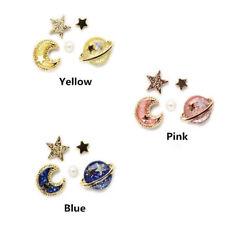 5pcs/lot Fashion The Universe Planet Moon Stars Pearl Stud Earrings Lovely Women