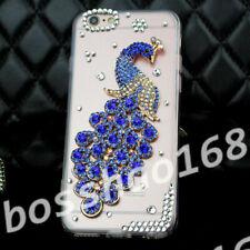 Glitter Luxury Bling blue gems peacock Diamonds Soft TPU GEL phone Case Cover B