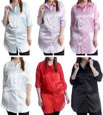 Womens Plain Satin Shiny Button Collared Shirt Ladies Long Sleeve Plus Size Top
