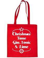 Christmas Time Gin & Lime Christmas Gift Xmas Funny Shopping Tote Bag For Life