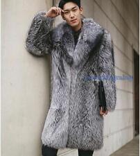 Hot Men Warm Gray Popular Coat Long Jacket Faux Fox Fur Collar Outwear Plus R309
