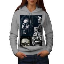 Wellcoda Marley Bob Jamaican Womens Hoodie, Music Casual Hooded Sweatshirt