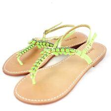 Joyce & Filles Chaussures Femmes Plat Sandales Vert Cuir 37 38 Np 139 Neuf