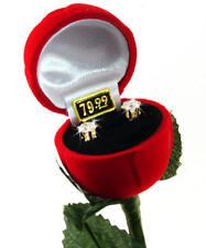 Long Stem Rose Crystal Earrings, Free Shipping
