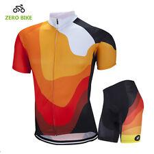 Men's Cycling Clothing Suit Short Sleeve Bicycle Jerseys + Bike Shorts Set Orang